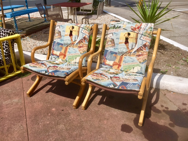 Vintage Cane Folding Armchairs Fabiano