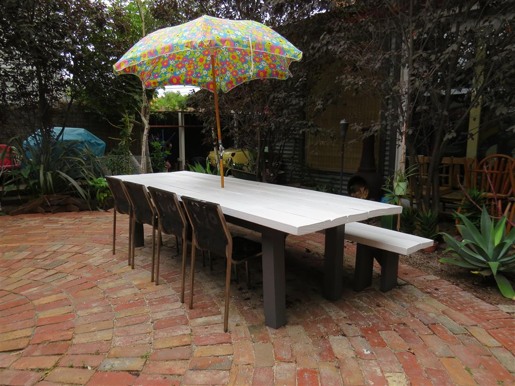 Railway sleeper outdoor table and bench seats – FABIANO